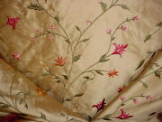 17-1/8 Gp J Baker J0516 Portia Embroidered Silk Floral Blossom Upholstery Fabric