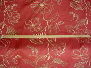 13y Mulberry Fd553 Hutton Linen Brick Red Embroidered Floral Upholstery Fabric