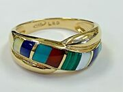 14k Yellow Gold Turquoise Multigem Inlay Ring Signed Lrd Size 7 1/4