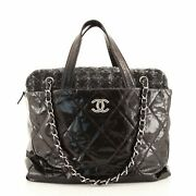 Portobello Zip Tote Quilted Glazed Calfskin And Tweed