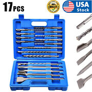 17pc Drill Bits And Chisel Sds Plus Rotary Hammer Bit Set Fits Bosch And Hilti Plus