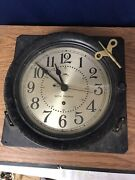 Seth Thomas Naval Type Ship Clock Made In Usa Working Condition