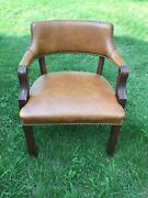 Vintage Leathercraft Brown Leather Open Arm Chair With Brass Tacks