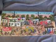 Signed African Folk 3-d Art Painting Shanty Town - Tin Soda Can Buildings Dl