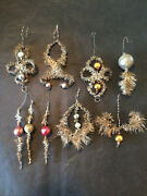 9 Antique German Victorian Tinsel Wire Mercury Glass Ball Christmas Ornaments