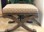 Beautiful Ethan Allen Carved Mahogany X Base Vanity Bench,foot Rest