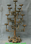 27 Old China Dynasty Bronze Ware Gilt Dragon Beast Candle Holder Candlestick