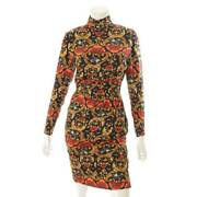 Authentic Hermes Total Pattern Silk High Neck Dress Black Size 38 Used Grade A