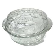Libbey Orchard Fruit Clear Glass 3 Qt Round Casserole Baking Dish Pie Plate Lid