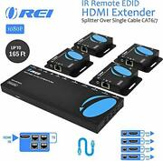 Orei 1x4 Hdmi Extender Splitter Over Cat6/7 Cable 1080p-165fthd14-ex165-k