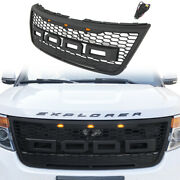 Black Grille Fit For Ford Explorer 2012-2015 Front Bumper Grill With Lights