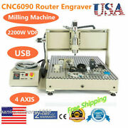 6090 Metal Wood Engraver 4axis+2.2kw +vfd +usb Spindle Motor With Tool Sensor
