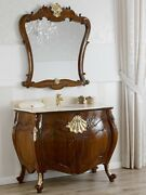 Bathroom Vanity Unit Anderson Baroque English Style Walnut And Gold Leaf Marble