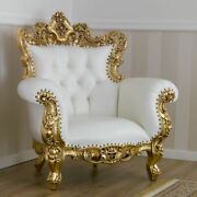 Armchair Boutique French Baroque Style Throne Gold Leaf Faux Leather White Butto