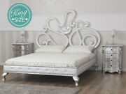 Super King Size Bed Frame Debby Contemporary Style Silver Leaf And White Lacquer
