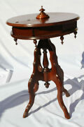 Antique Rare Victorian Round Sewing/jewelry Table With Hidden Compartment C.19th