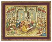 Mughal Miniature Painting Of Mughal Emperor Enjoying Romance With His Mistress