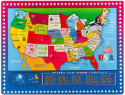 Wooden Usa Map Puzzle For Kids, 46 Pcs United States Puzzle Us Map Puzzle