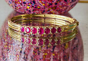 Best Antique Victorian Style 9ct Gold Ruby And Diamond Bangle Bracelet 16.5g