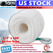 1/4 X 100and039 White Twisted Three Strand Braid Nylon Anchor Rope Boat With Thimble