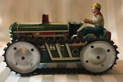 Vintage Marx Tractor Tin Litho Windup/ Wind Up Works W/ Farmer Unusual Find