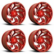 Set 4 20 Fuel D754 Reaction Candy Red Milled Wheels 20x9 8x6.5 1mm Truck Rims