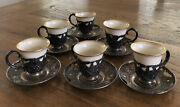 Antique Benjamin Barling Sterling Saucers And Demmittase Holders With Lenox Cups