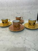 Royale France Limoges Coffee Litron Cup And Saucer Cards Player Set Of 4 New