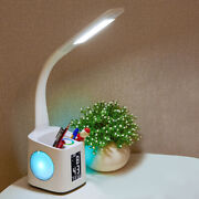 Led Usb Charging Dimmer 3-level Desk Table Lamp With Thermometer Fan Pen Holder