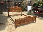 Rare Ethan Allen Country French Queen Arched Panel Bed,26-5606-5 236 Fruitwood