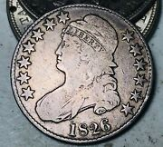 1826 Capped Bust Half Dollar 50c Ungraded Choice Good Date Silver Us Coin Cc8645