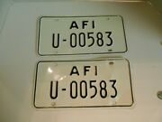 Armed Forces Italy License Plates 2 U-00583 1960's From Udine District