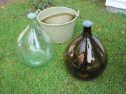 Vintage Glass Wine Demijohn Carboy Bottle 54 Litre 1 Clear, 1 Brown With 1 Caddy