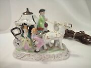Vintage Victorian Porcelain Horse Drawn Carriage Table Night Light