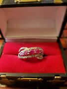 Colleen Lopez 10k Solid Gold Ruby And White Zircon Ring Size 8 Nwot