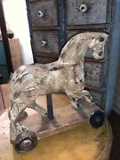 Early Primitive Antique Folk Art Wooden Horse Pull Toy Homemade