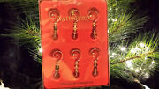 Waterford Crystal Boxed Set Of 6 Ornament Enhancers Green Red Clear - Euc