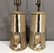 Extremely Rare Vintage Pair Of Rick Schlag Signed Art Pottery Lamps Dated 1984