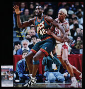Shawn Kemp Signed Seattle Supersonics Basketball16x20 Photo Poster Reign Man