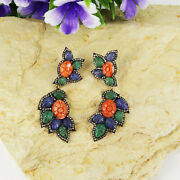 Vintage Victorian Earrings Natural Flower Carving Coral Natural Emerald.