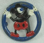 Vintage Mickey Mouse Belt Buckle By Hickok Made In Usa Colored Solid Metal Rare