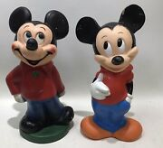 Lot 2 Vintage Walt Disney Mickey Mouse Illco Rubber Plastic Coin Banks