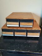 Vintage Faux Wood 42 And 24 Cassette Tape Holders 3 And 2 Drawer Storage Cabinets