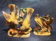 1950's Japan Oriole Bird Hand Painted Porcelain Bisque Figurines 1726 1727