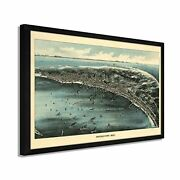 1910 Provincetown Ma Map - Framed Vintage Cape Cod Map Of Provincetown Wall Art