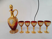 Murano Italian Art Glass Red And Gold Wine Decanter And 5 Cups