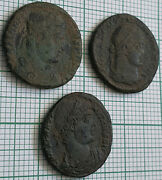 Rare Roman Bronze Coin Lot 3 Coins Uncleaned