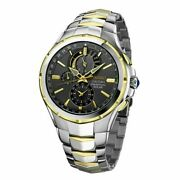 Seiko Menand039s And039couturaand039 Charcoal Dial Two Tone Perpetual Solar Chronograph- Ssc376