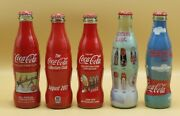 5 Different Coca-cola Glass Bottles Acl And Sleeve / Wrap Usa 8oz. Collectors Club