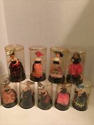 9 Vintage Miniature Lady Women Dolls In Plastic Tube Made Hong Kong